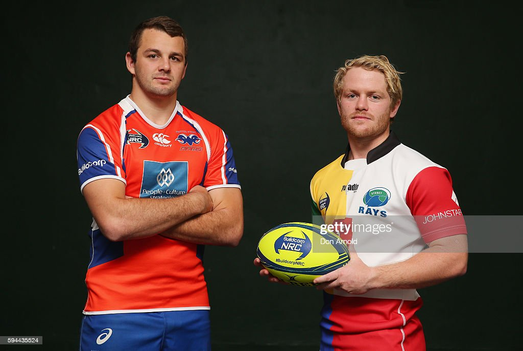 Paul Asquith from Western Sydney Rams and Matt Lucas from Macquarie University Sydney Rays poseduring the 2016 NRC Season Launch at Coogee Oval on...