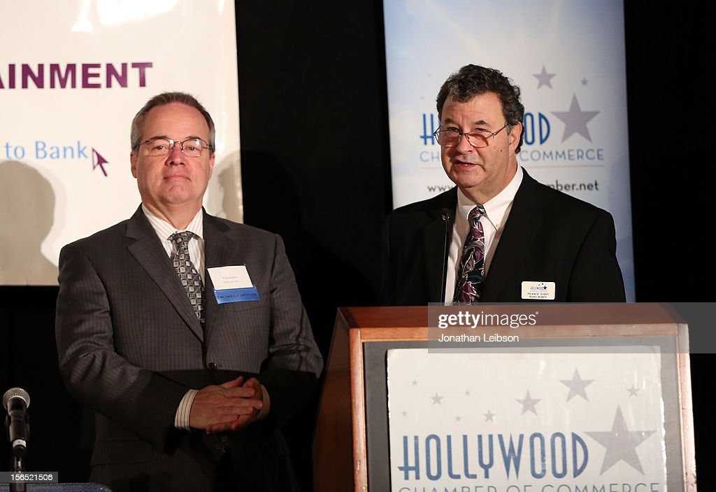 Paul Audley, FilmL.A., Inc (L) and Howard Green, Walt Disney Animation Studios speak on stage at Variety's Hollywood Chamber Entertainment Conference 2012 at Loews Hollywood Hotel on November 16, 2012 in Hollywood, California.