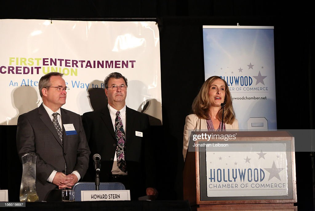 Paul Audley, FilmL.A., Inc, Howard Green, Walt Disney Animation Studios, and Michelle Sobrino-Stearns, VP/ Publisher Variety Inc. speak onstage at Variety's Hollywood Chamber Entertainment Conference 2012 at Loews Hollywood Hotel on November 16, 2012 in Hollywood, California.