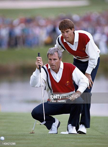 Paul Azinger of the USA and Curtis Strange of the USA during the Johnnie Walker 1989 Ryder Cup match on the Brabazon Coourse at The Belfry on...