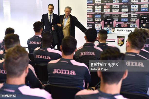 Paul Baccaglini new President of Palermo and former President Maurizio Zamparini meet players at Tenente Onorato training center on March 7 2017 in...