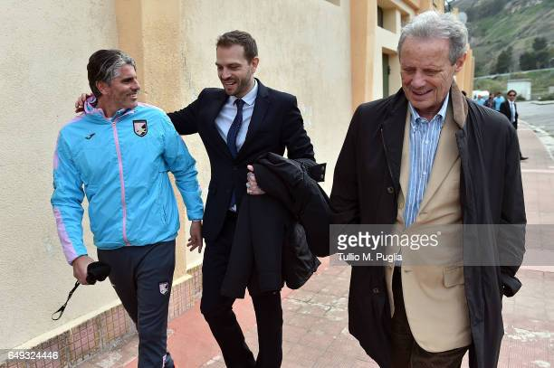 Paul Baccaglini new President of Palermo and former President Maurizio Zamparini meet head coach Diego Lopez at Tenente Onorato training center on...