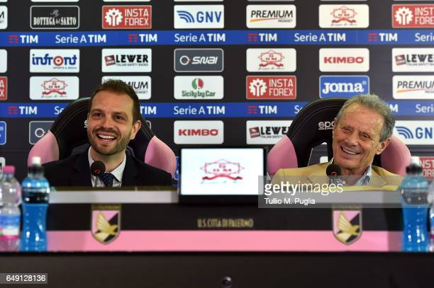 Paul Baccaglini new President of US Citta' di Palermo and former President Maurizio Zamparini answers questions during a press conference at Renzo...