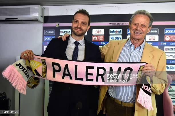 Paul Baccaglini new President of US Citta' di Palermo and former President Maurizio Zamparini pose at Renzo Barbera Stadium on March 7 2017 in...