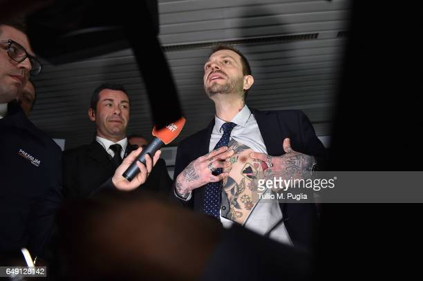 Paul Baccaglini new President of US Citta' di Palermo shows a tatoo diplaying a logo of Palermo during a press conference at Renzo Barbera Stadium on...