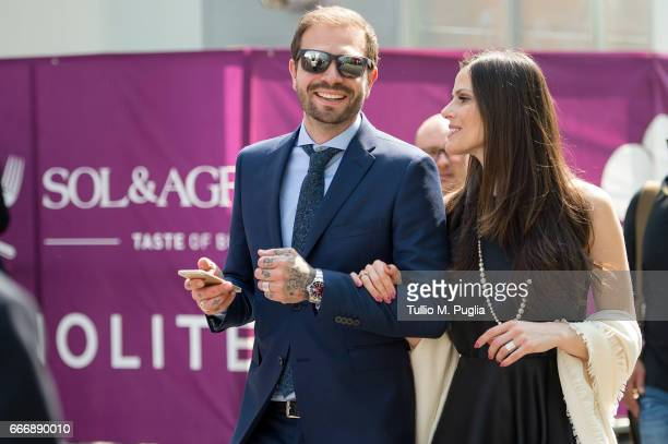 Paul Baccaglini President of Palermo and Thais Souza Wiggers visit Vinitaly on April 10 2017 in Verona Italy