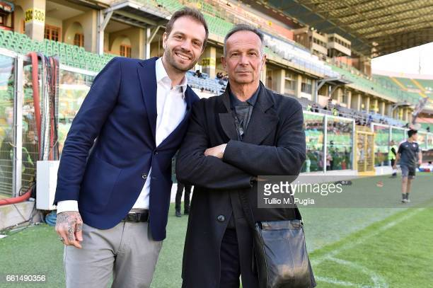 Paul Baccaglini President of US Citta' di Palermo and Sport Manager Nicola Salerno pose during a training session at Renzo Barbera Stadium on March...