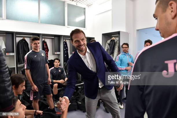 Paul Baccaglini President of US Citta' di Palermo meets Palermo youth team members before a training session at Renzo Barbera Stadium on March 30...