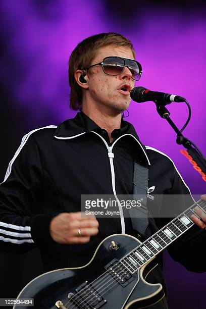 Paul Banks of Interpol performs live on the Main Stage during day three of Reading Festival 2011 on August 28 2011 in Reading England