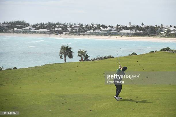 Paul Barjon plays an approach shot on the 16th hole during the continuation of the second round of The Bahamas Great Exuma Classic at Sandals Emerald...