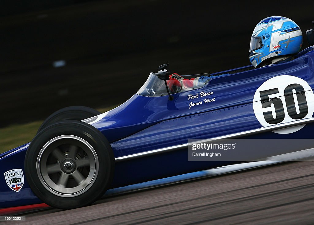 Paul Bason drives the ex James Hunt March 712M during the Jochen Rindt Trophy Formula 2 race at the Historic Sports Car Club Thruxton Revival Meeting at the Thruxton Circuit on March 31, 2013 near Andover, United Kingdom.