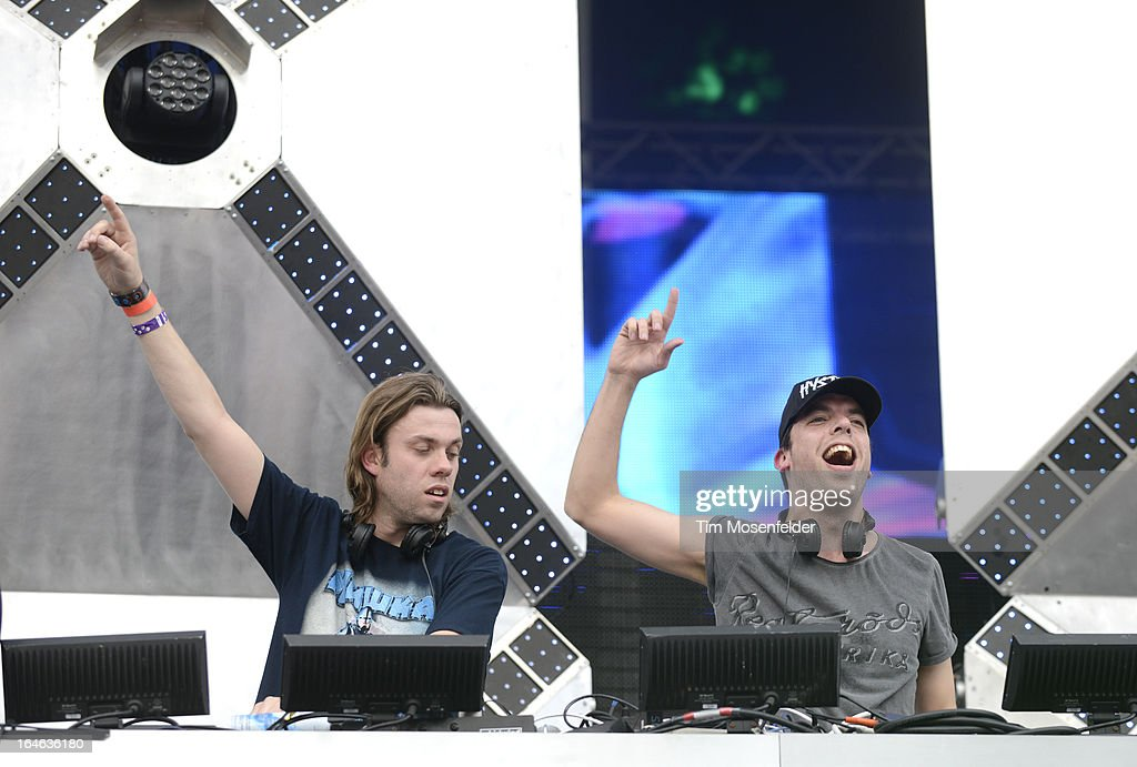 Paul Baumer (L) and Maarten Hoogstraten of Bingo Players perform at the Ultra Music Festival on March 24, 2013 in Miami, Florida.