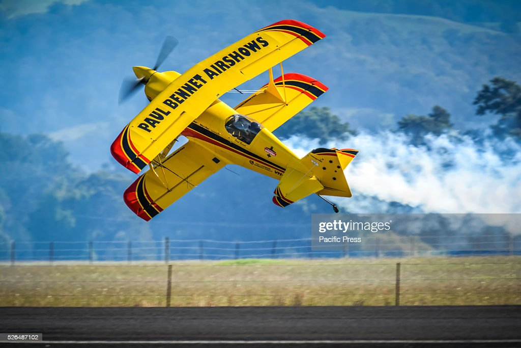 Paul Bennet aerobatic display in his Wolf Pitts Pro at the annual 'Wings Over Illawarra' Airshow at the Illawarra Regional Airport.