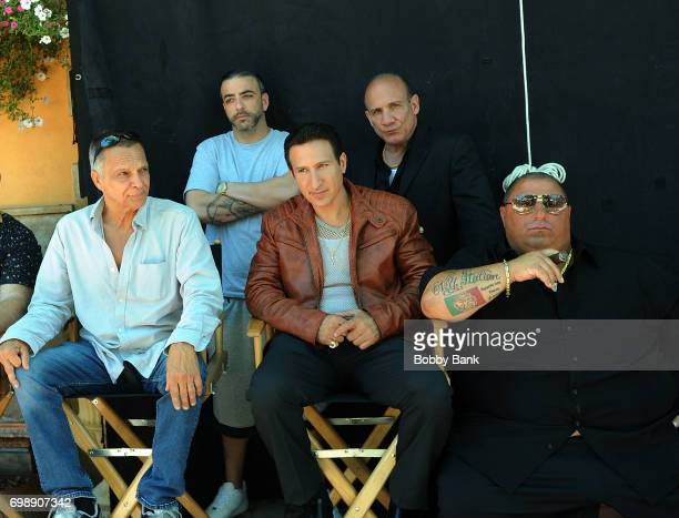 Paul BenVictor James Russo and William DeMeo on the set of 'The Neighborhood' on June 20 2017 in New York City