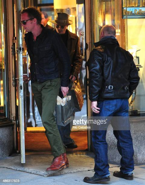 Paul Bettany and Johnny Depp seen on Madison Avenue on April 23 2014 in New York City