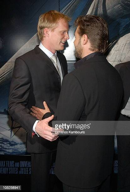 Paul Bettany and Russell Crowe during 'Master and Commander The Far Side of The World' Screening Inside Arrivals at Beekman Theatre in New York City...