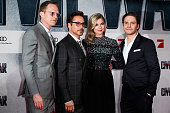 Paul Bettany Robert Downey Jr Emily VanCamp and Daniel Bruehl attend the 'The First Avenger Civil' War Berlin Premiere at Sony Centre on April 21...