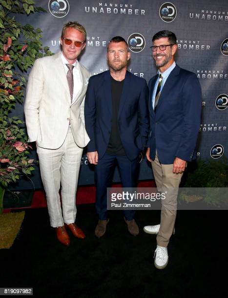 Paul Bettany Sam Worthington and Rich Ross attend Discovery's 'Manhunt Unabomber' World Premiere at the Appel Room at Jazz at Lincoln Center's...