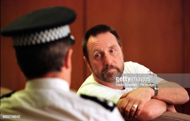 Paul Betts the father of Ecstasy victim Leah Betts talks to Chief Supt Jim Pryde of Lothian and Borders police in Edinburgh during his second tour of...