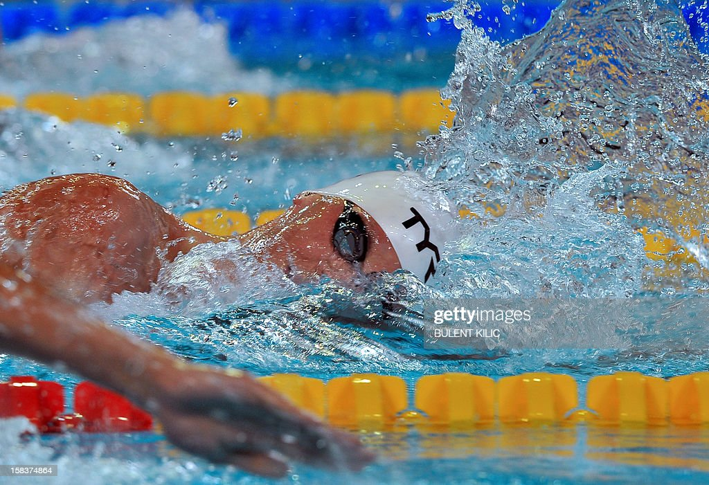 Paul Bierdermann of Germany competes after winning the men's 400m Freestyle during the FINA World Short Course Swimming Championships in Istanbul on December 14, 2012.