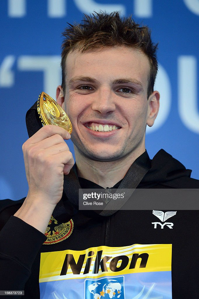 Paul Bierdermann of Germany poses with his Gold medal on the podium after winning the Men's 400m Freestyle Final during day three of the 11th FINA Short Course World Championships at the Sinan Erdem Dome on December 14, 2012 in Istanbul, Turkey.