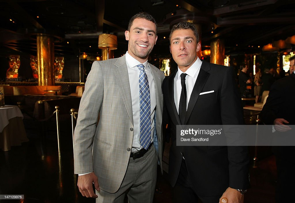 Paul Bissonnette of the Phoenix Coyotes and <a gi-track='captionPersonalityLinkClicked' href=/galleries/search?phrase=Joffrey+Lupul&family=editorial&specificpeople=206995 ng-click='$event.stopPropagation()'>Joffrey Lupul</a> of the Toronto Maple Leafs arrive before the 2012 NHL Awards at the Encore Theater at the Wynn Las Vegas on June 20, 2012 in Las Vegas, Nevada.