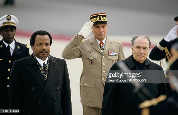 Paul Biya and Francois Mitterand in Paris France on April 5 1987