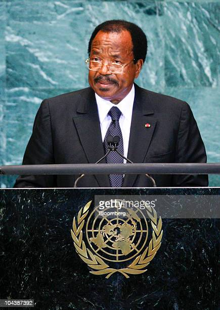 Paul Biya president of Cameroon speaks during the 65th annual United Nations General Assembly at the UN in New York US on Thursday Sept 23 2010 The...