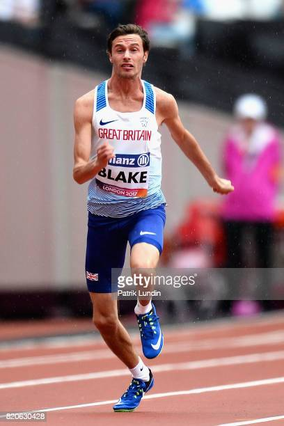 Paul Blake of Great Britain competes in round one heat one of the Mens 100m T36 during day nine of the IPC World ParaAthletics Championships 2017 at...