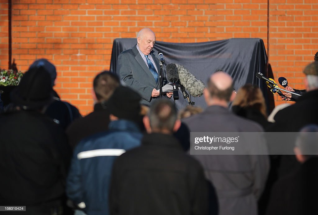 Paul Bone, the father of PC Fiona Bone, addresses guests during the opening of a memorial garden dedictated to murdered PC's Fiona Bone and Nicola Hughes on December 13, 2012 in Hyde, England. Police Constables Fiona Bone, 32, and her colleague Nicola Hughes, 23, were killed as they responded to what they thought was a routine burglary call in Mottram, Greater Manchester and were murdered in a gun and grenade attack. The memorial garden outside Hyde police station has been created using funds donated by the public, businesses and police partners.