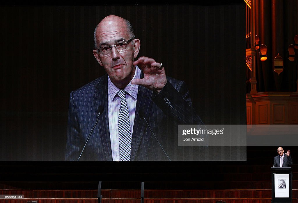 Paul Bongiorno addresses attendees at the public memorial for Peter Harvey at Sydney Town Hall on March 9, 2013 in Sydney, Australia. Television journalist Peter Harvey, died in Sydney on March 2 aged 68 after a battle with pancreatic cancer.