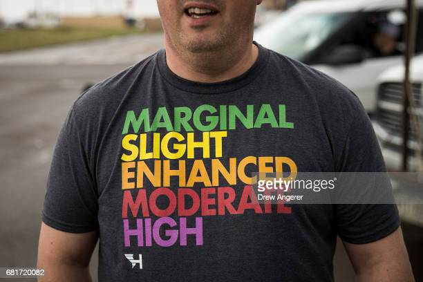 Paul Botten who is from England and brings weather enthusiasts on storm chasing tours in the United States wears a tshirt displaying severe weather...