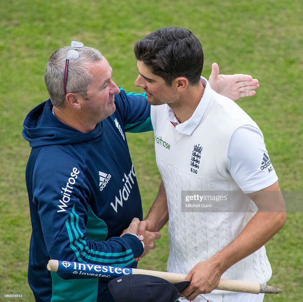 Paul Bracewell and Alastair Cook celebrate the England victory on day four of the 2nd Investec Test match between England and Pakistan at The...