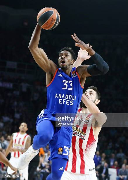 Paul Brandon #33 of Anadolu Efes Istanbul in action during the 2016/2017 Turkish Airlines EuroLeague Playoffs leg 4 game between Anadolu Efes...