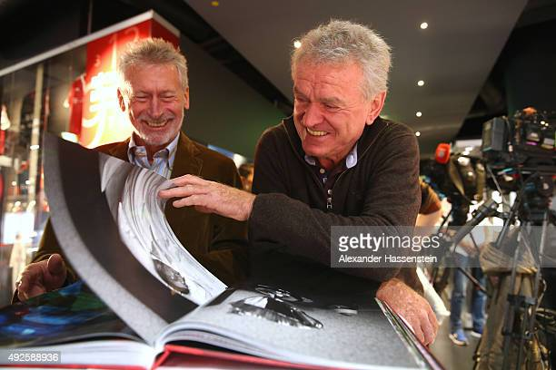 Paul Breitner and Sepp Maier of FC Bayern Muenchen launches the new book 'Mythos FC Bayern' at FC Bayern Muenchen Erlebniswelt museum on October 14...