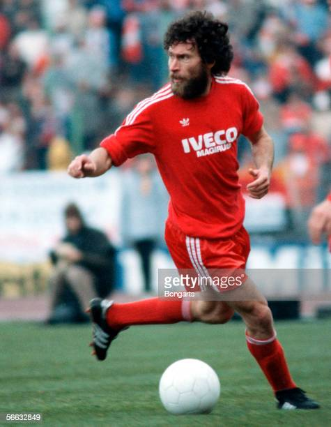 Paul Breitner of Bayern in action during the Bundesliga match between Bayern Munich and Hamburger SV at the Olympicstadium on April 24 1982 in Munich...