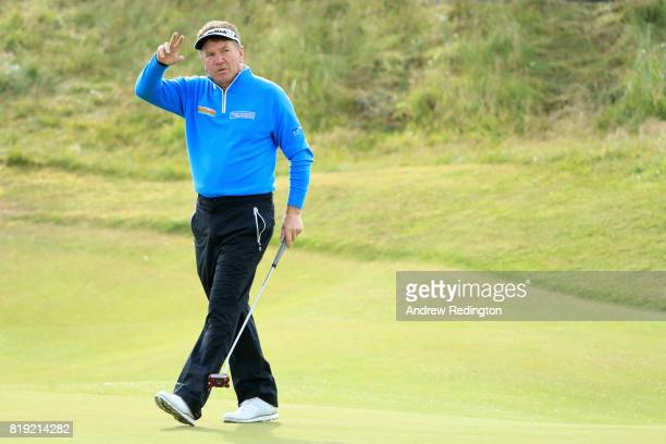Paul Broadhurst of England acknowledges the crowd after a birdie on the 7th hole during the first round of the 146th Open Championship at Royal...