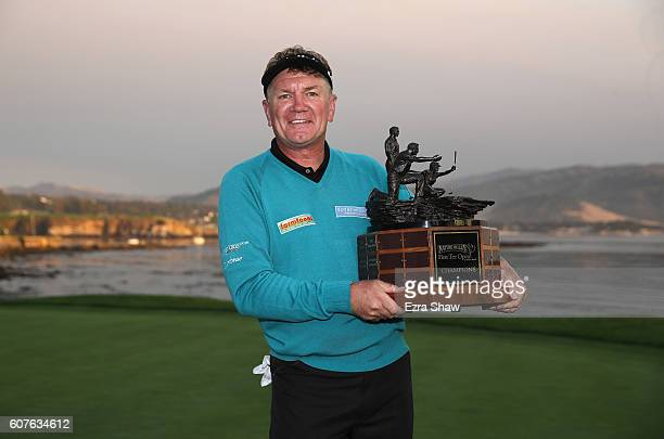 Paul Broadhurst of England holds the trophy after winning the Nature Valley First Tee Open at Pebble Beach Golf Links on September 18 2016 in Pebble...