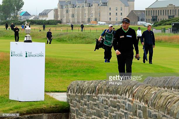 Paul Broadhurst of England in action during the final round of the Senior Open Championship played at Carnoustie on July 24 2016 in Carnoustie United...