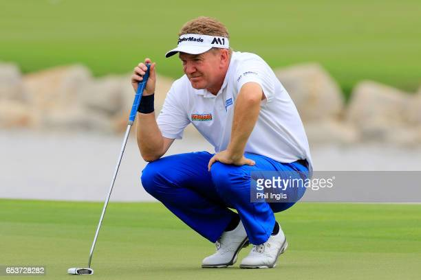 Paul Broadhurst of England in action during the first round of the Sharjah Senior Golf Masters at Sharjah Golf Shooting Club on March 16 2017 in...