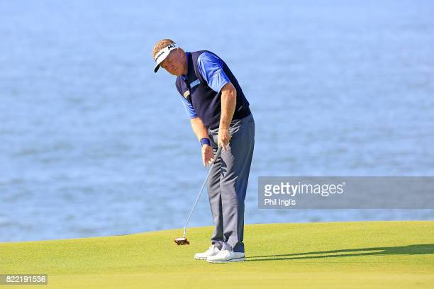 Paul Broadhurst of England in action during the ProAm ahead of The Senior Tour Open Championship played at Royal Porthcawl Golf Club on July 25 2017...