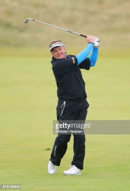 Paul Broadhurst of England plays his second shot on the second hole during the first round of the 146th Open Championship at Royal Birkdale on July...