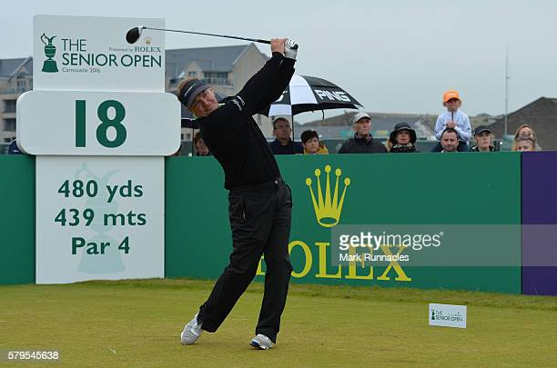 Paul Broadhurst of England tee shot to 18 during The Senior Open Championship at Carnoustie Golf Club on July 24 2016 in Carnoustie Scotland