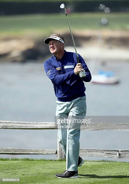 Paul Broadhurst of England tees off on the seventh hole during Round One of the Nature Valley First Tee Open at Pebble Beach Golf Links on September...