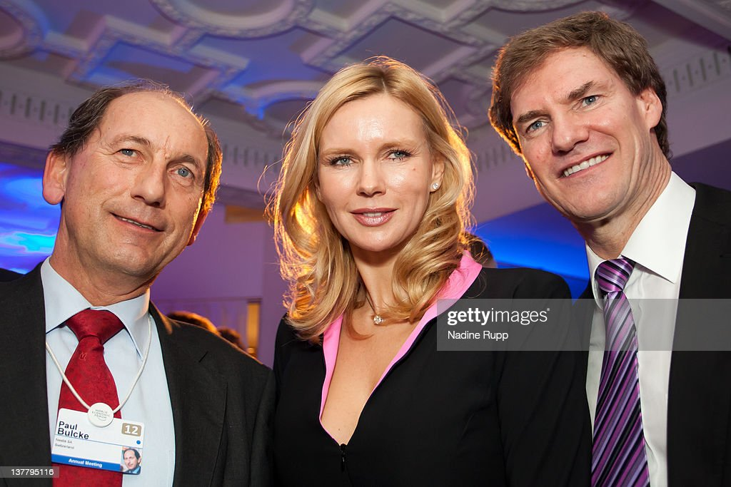 Paul Bulcke, chief executive officer of Nestle SA, actress Veronica Ferres and Carsten Maschmeyer attend the Burda DLD Nightcap 2011 at the Steigenberger Belvedere hotel on January 25, 2012 in Davos, Switzerland. DLD (Digital - Life - Design) is a global conference network on innovation, digital, science and culture which connects business, creative and social leaders, opinion-form science and culture which connects business, creative and social leaders, opinion-formers and investors for crossover conversation and inspiration.