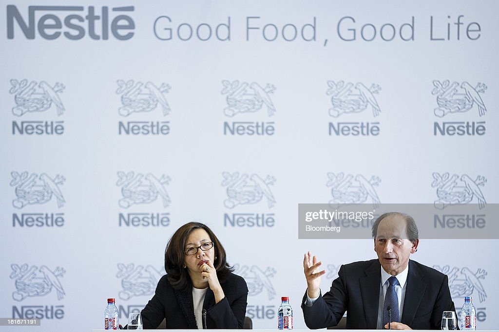 <a gi-track='captionPersonalityLinkClicked' href=/galleries/search?phrase=Paul+Bulcke&family=editorial&specificpeople=4498845 ng-click='$event.stopPropagation()'>Paul Bulcke</a>, chief executive officer of Nestle SA, right, speaks while Wan Ling Martello, chief financial officer of Nestle SA, listens during a news conference to announce the company's annual results in Vevey, Switzerland, on Thursday, Feb. 14, 2013. Nestle SA said it expects 2013 to be as challenging as last year, when sales missed analysts' estimates on a slowdown in emerging markets, a region the world's largest food company is increasingly dependent upon. Photographer: Valentin Flauraud/Bloomberg via Getty Images