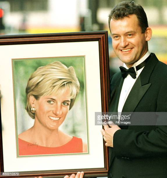 Paul Burrell former butler to Diana Princess of Wales holds a portrait of her painted by Manchester City player Jim Whitley which is to be auctioned...