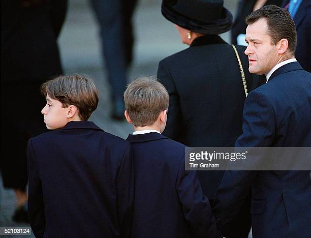 Paul Burrell Holding Hands With His Sons As They Arrive At Westminster Abbey For The Funeral Of The Princess Of Wales