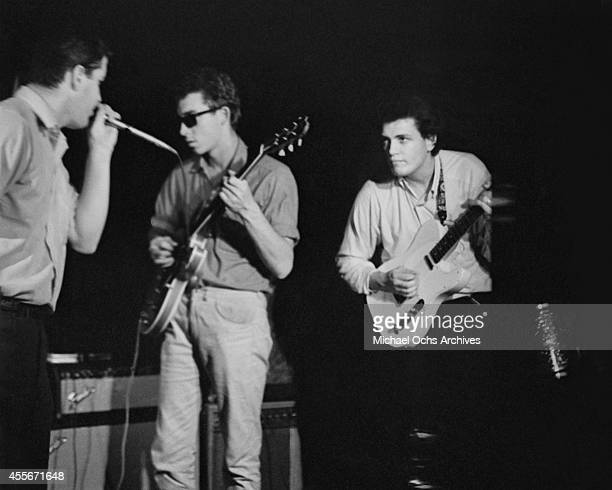 Paul Butterfield Elvin Bishop and Mike Bloomfield of the Butterfield Blues Band perform at the 'Blues Bag' at the Cafe au Go Go in November 1965 in...