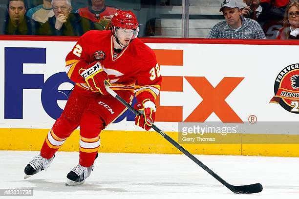 Paul Byron of the Calgary Flames skates against the New York Islanders at Scotiabank Saddledome on March 7 2014 in Calgary Alberta Canada The Flames...